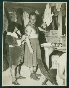 My Dad (left) backstage preparing for a This is the Army performance