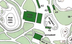 A part of the Cincinnati Zoo map detailing the opera house's location